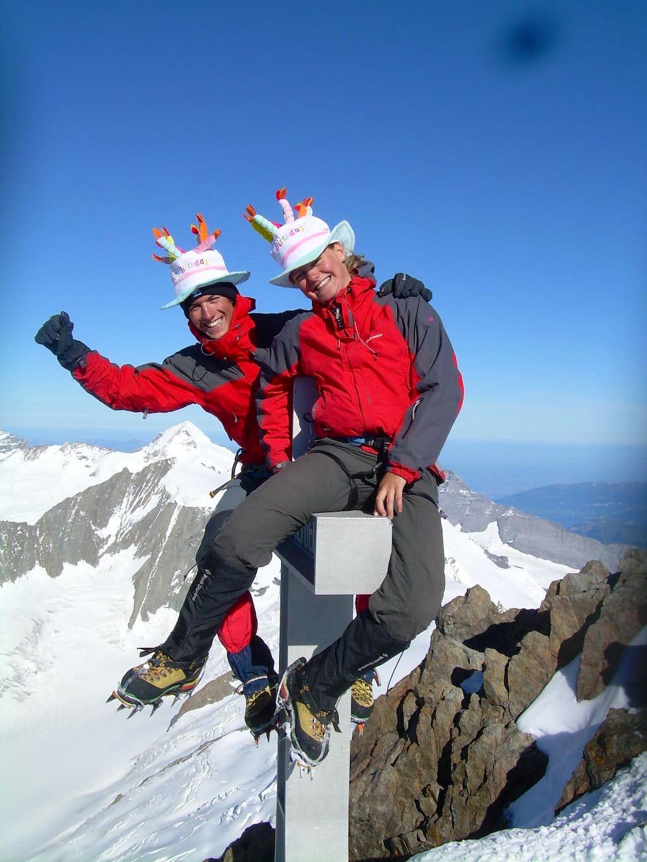 On the summit of the Finsteraarhorn