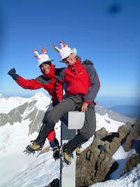 On the summit of the Finsteraarhorn
