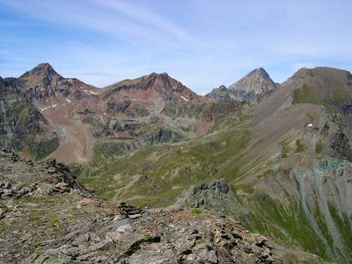 Emilius group and S-SE Ridge of Punta di Leppe seen from Punta di Laval