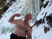 Just Ice screwing around     before climbing Jaws