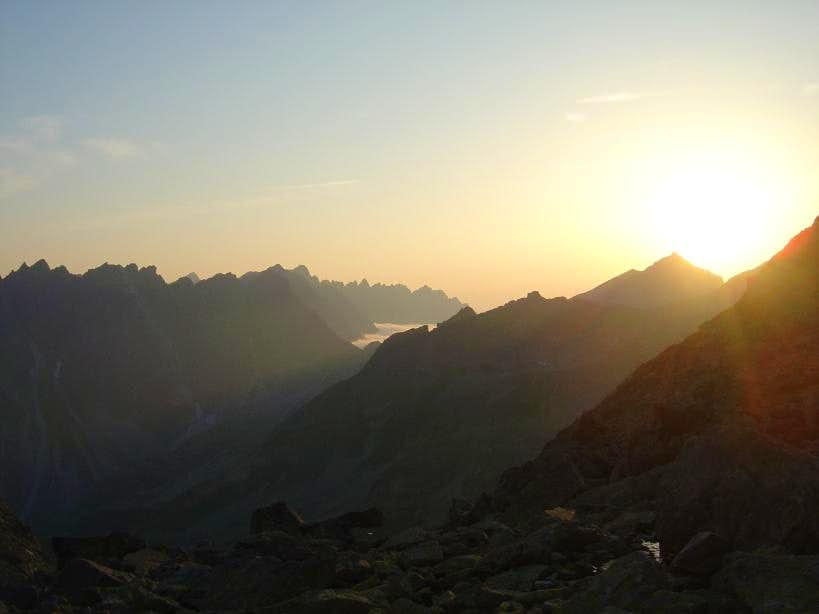 Sunset scene in the High Tatras