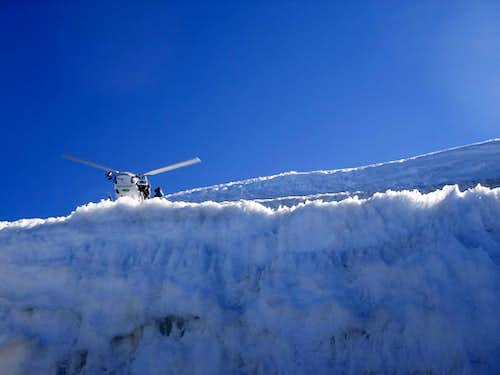 Helicopter above Gouter hut