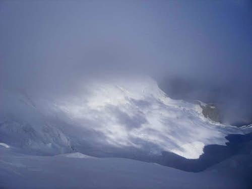 Clouds and snow slopes