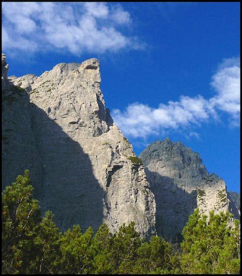 Cima della Sfinge ( the sphinx ) and Cima dai Gjai ( the cocks' peak )