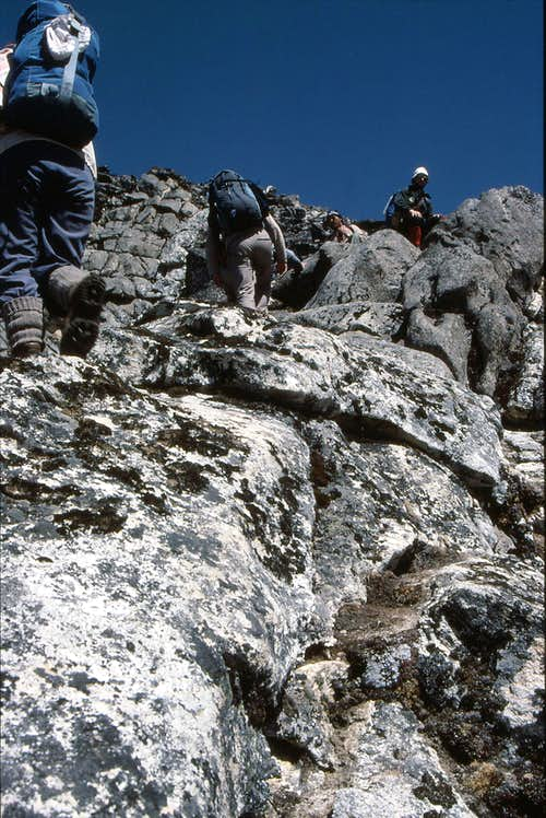 Scrambling near the Summit of Taweche Towers