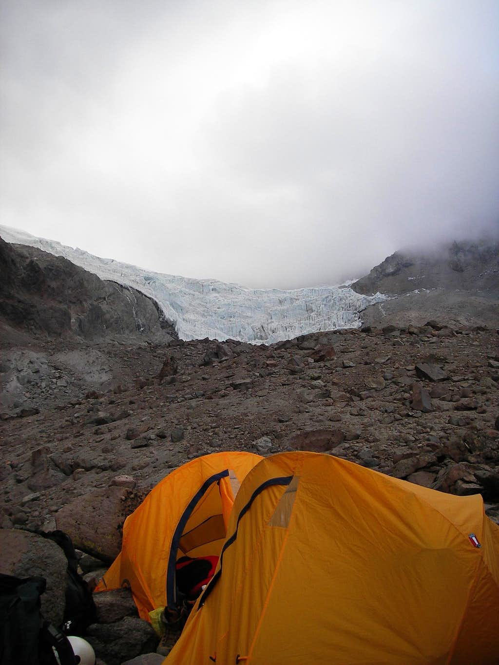 Clouds Covering the Glacier and Summit