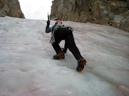 climbing the Rocyce-Feather Couloir