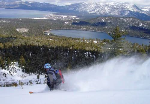 Skiing the mellow powder...