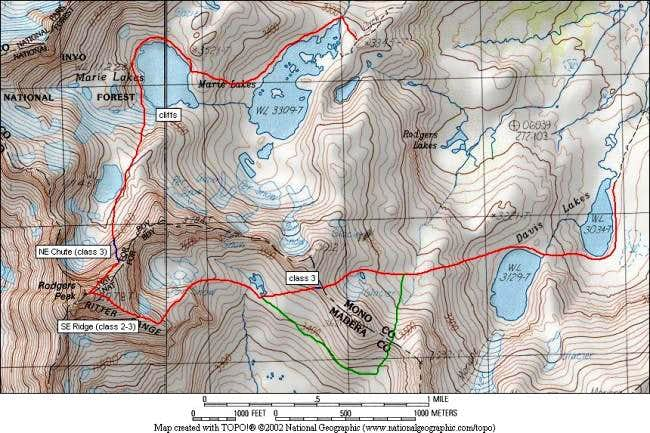 Main routes on Rodgers Peak...
