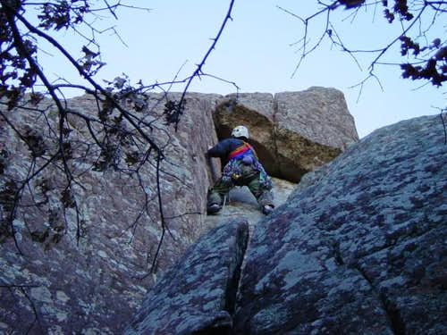 (Me) Nearing the roof crux...