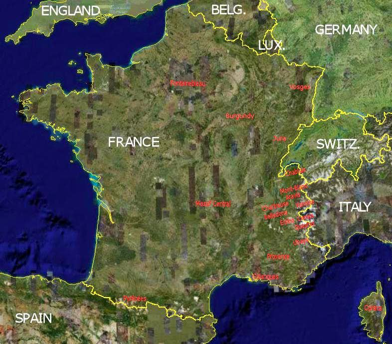 Areas Of France Map.Map Of French Climbing Hiking Areas Photos Diagrams Topos