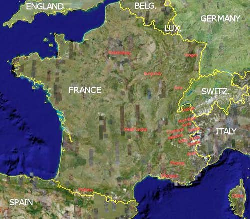 Map of French climbing & hiking areas
