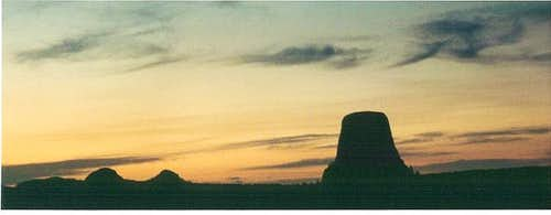 Devil s Tower at sunset....