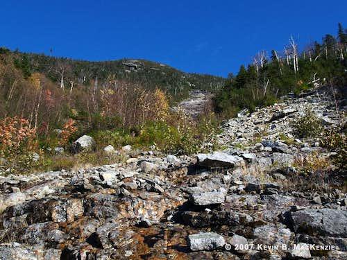 Nippletop Slide - Rubble Field and View Toward Summit