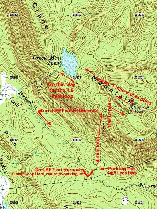 Crane Mt Loop Hike Map
