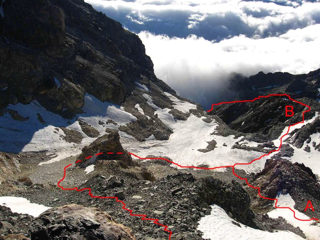 This is the area covered of snow and broken rocks below the Colle di Volfrede.