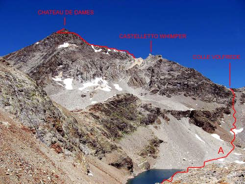 Monte Chateau de Dames.Gran Lago is visible on the bottom.