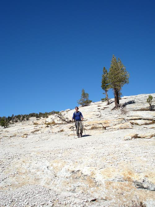 Descending the SE slopes of Tenaya Peak