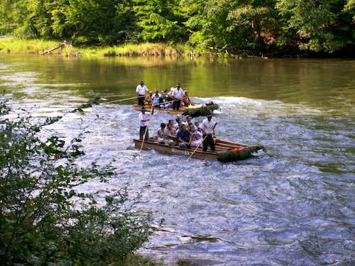 Rafts steered by...