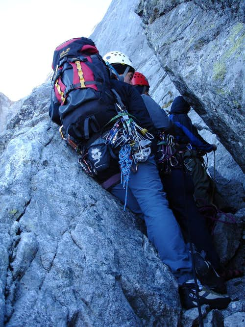 Cassin pitch #4 belay-jam