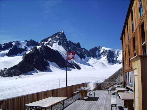 View from the Finsteraarhorn Hütte