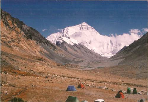 Everest from camp in upper...