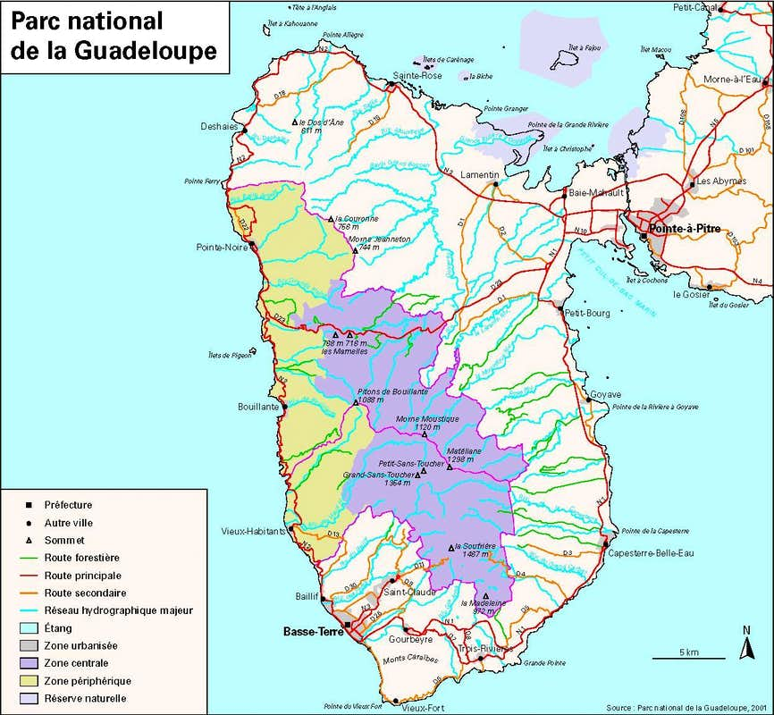 map of guadeloupe. map of guadeloupe  photos diagrams  topos  summitpost