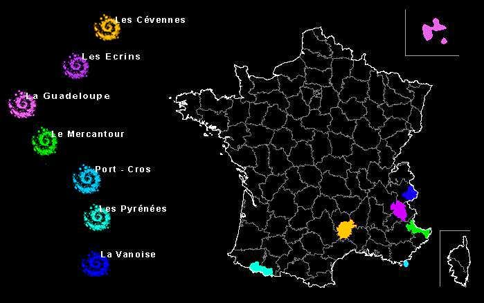 Map of National Parks in France