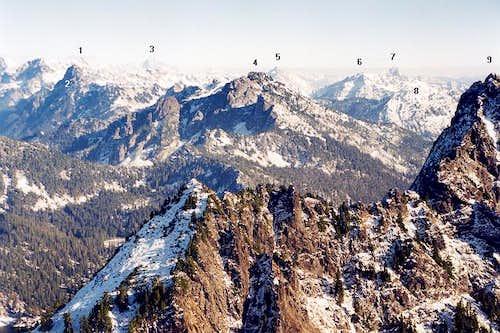 1 - Chikamin Peak ; 2 - Mt....