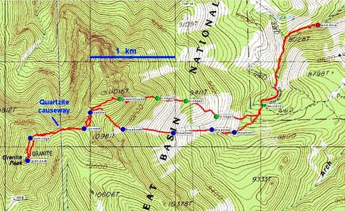 Waypoints on Hike to Granite