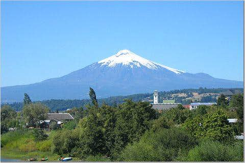 View of Volcan Villarrica from Outside of Pucon