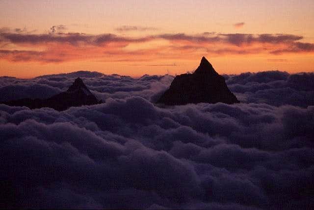 the silhouettes of Matterhorn...
