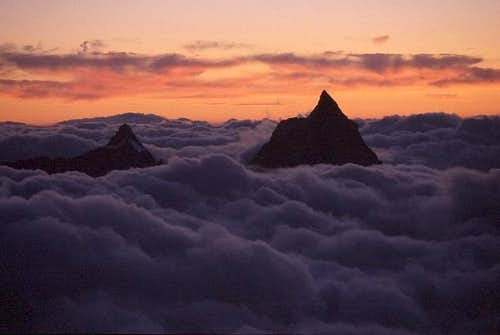 the silhouettes of Matterhorn...