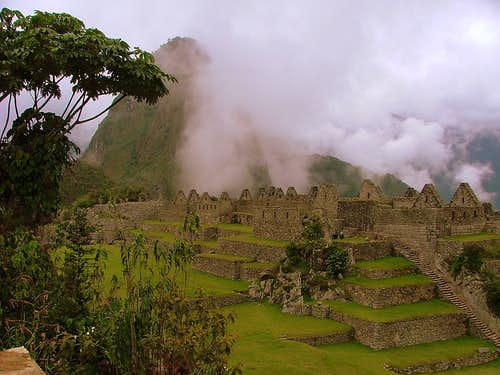 Inca ruins and Huayna Picchu.