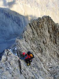 Downclimbing on East Ridge