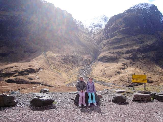 Chelsea and Lauren in front of Stob Coire nan Lochan