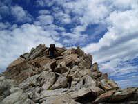 Leaving the summit of Matterhorn Peak