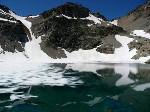 Wing Lake still half frozen in July