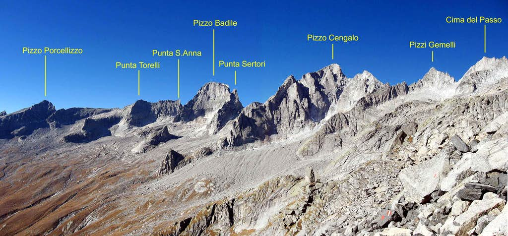 The summits of Val Porcellizzo seen from Passo del Camerozzo.
