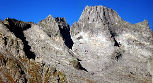 Punta Torelli and Pizzo Badile seen from Passo del Barbacan.