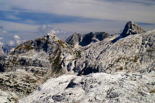 Bila Pec (2146m) in front of  Hudi Vrsic (2344m) and Lopa (2406m)