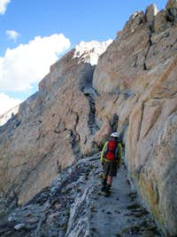 Improbable sandy ledges leading to the summit
