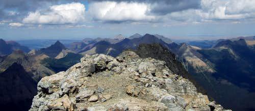 Looking east down the summit ridge of Mount Stimson