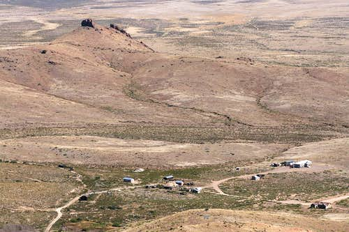 Lake Valley ghost town from summit of Town Mountain