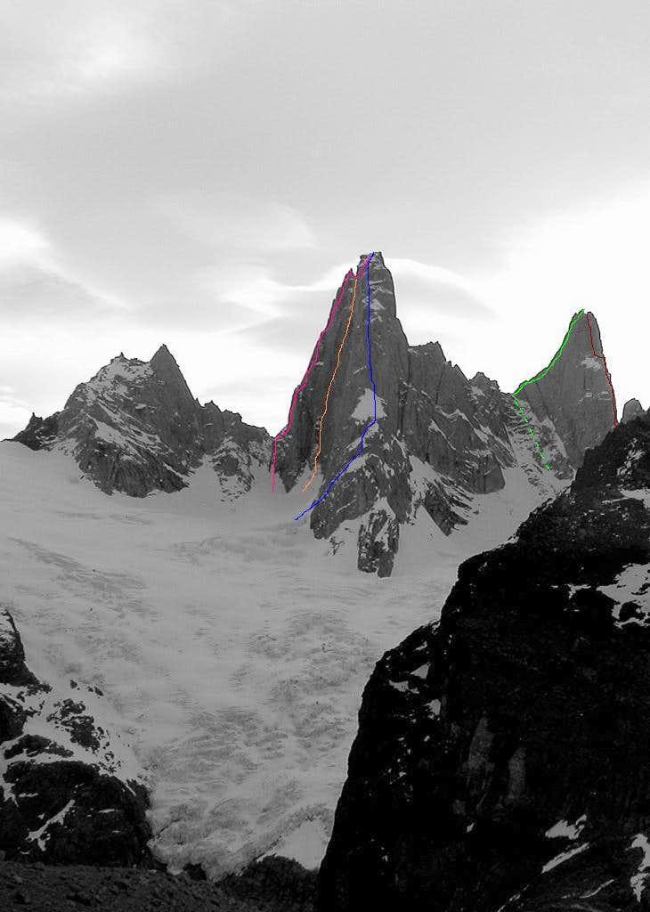 Agujas de la S (2335m), St-Exupery (2558m) & Raphael (2482m)