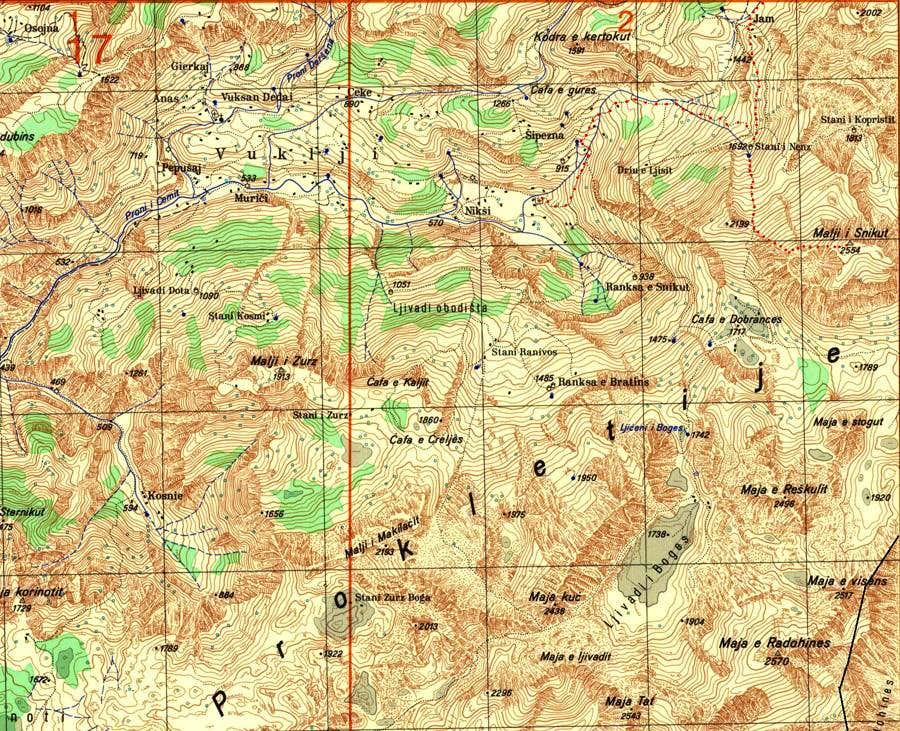 Map of Prokletije mountains