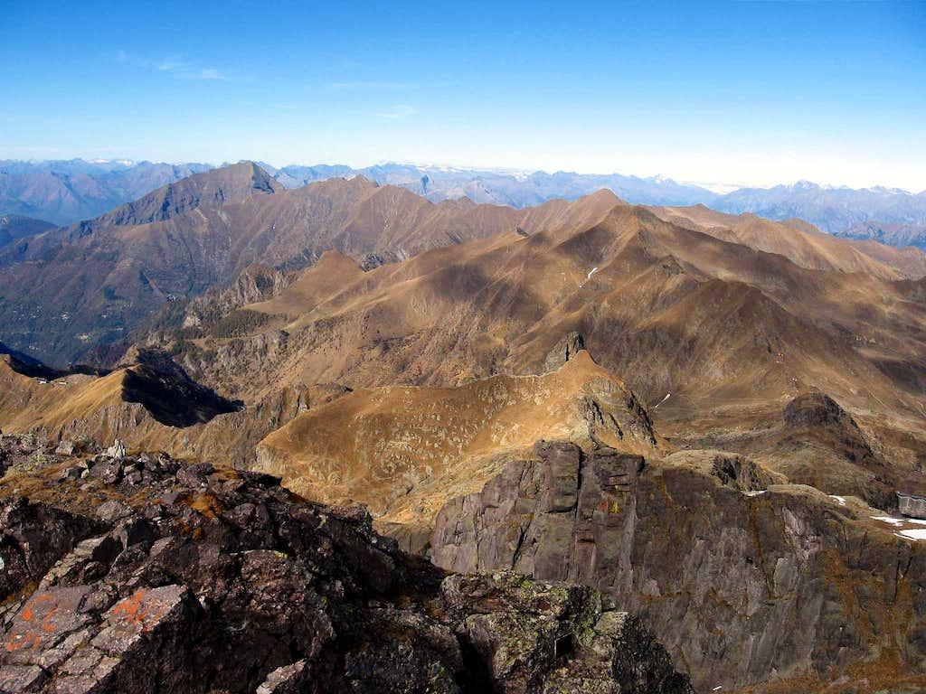 The part of Alpi Orobie with Monte Legnone(left) and Monte Rotondo.