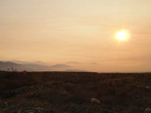 San Bernardino Mtns through the smoke