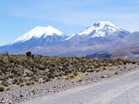 Parinacota and Pomerape as seen from Sajama