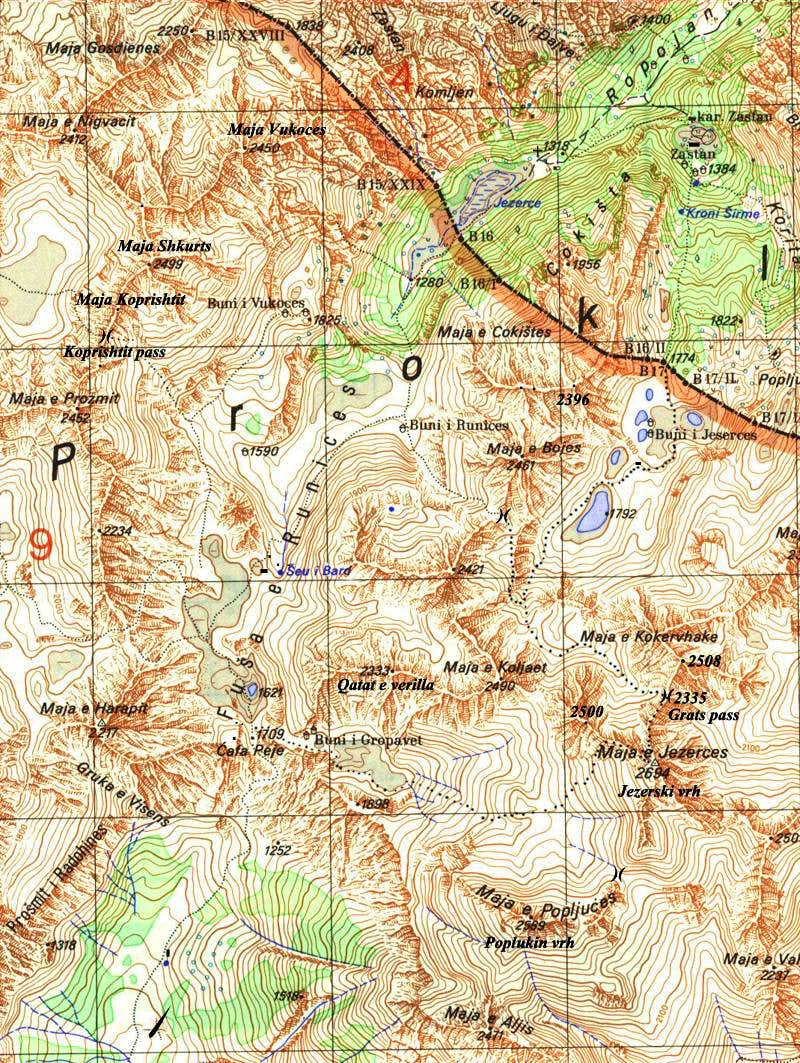 Map of Prokletije - Central massif